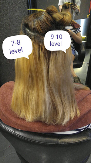 Brassy Hair Level 7-8 versus level 9-10