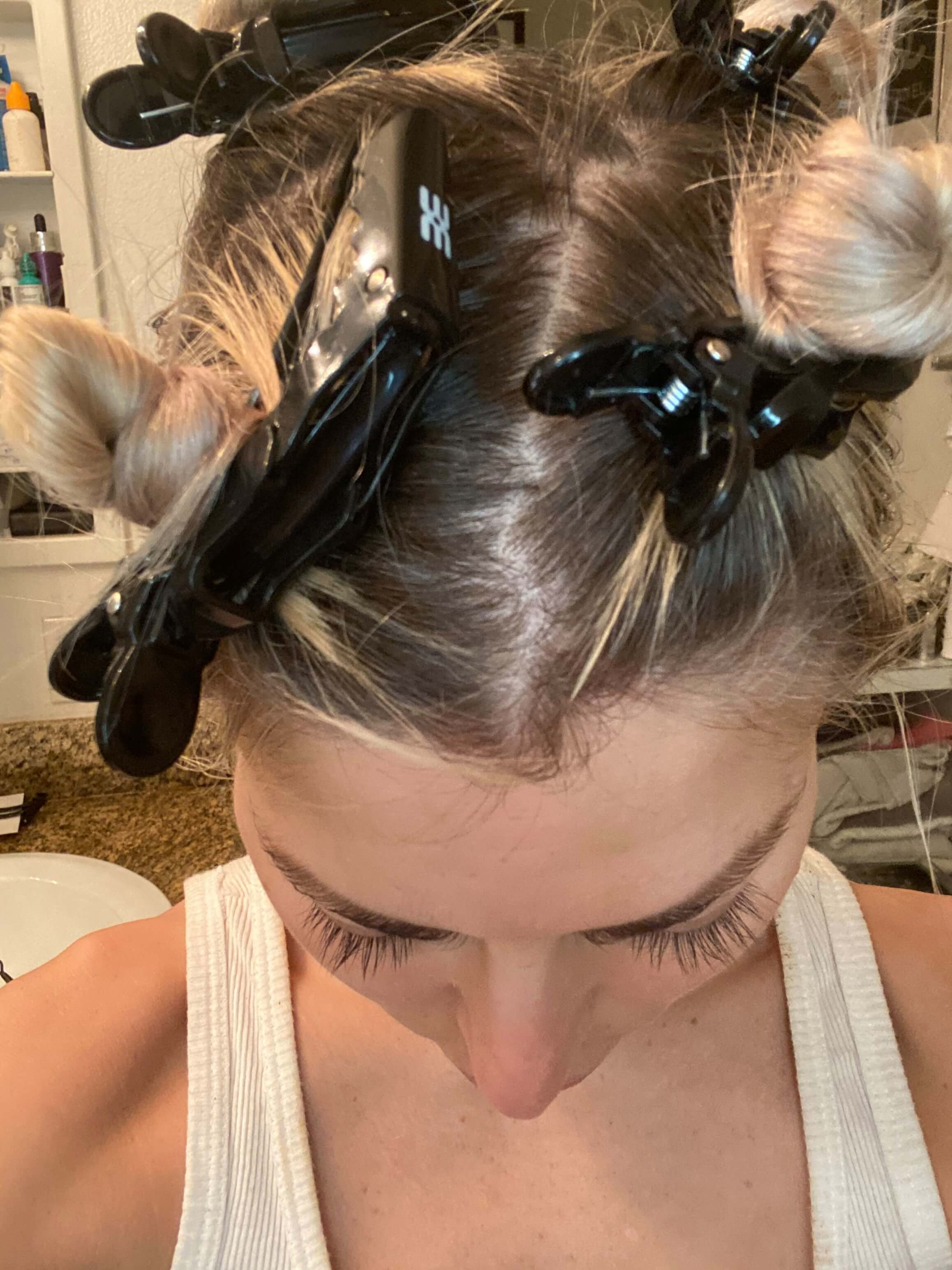 Hair all tied up neatly