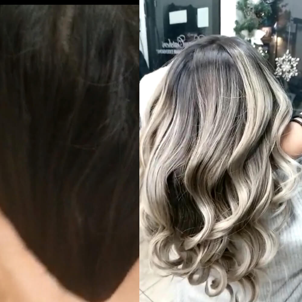 Before and After - From Brunette to Shadow Root Blonde