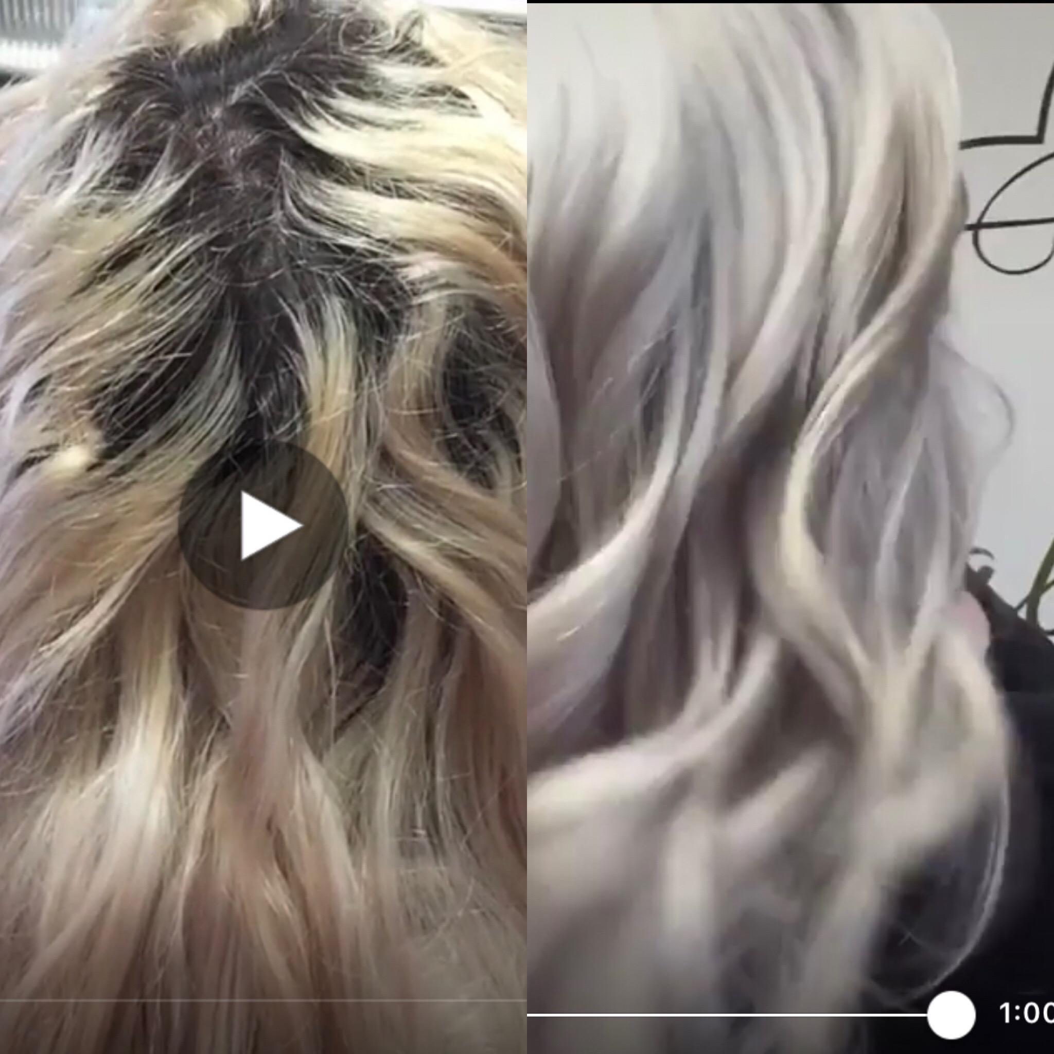 Dark Roots to Icy White Blonde