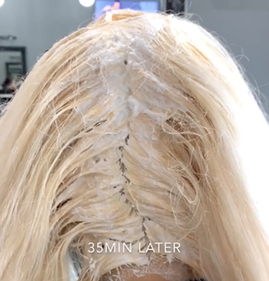 Hair Bleach Applied on the Scalp Area - No Damage Because of Bond Protect