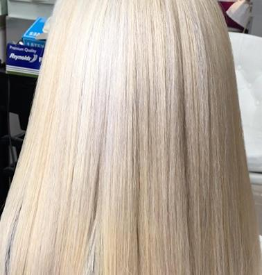 White Blonde Hair After Bleaching & Toning